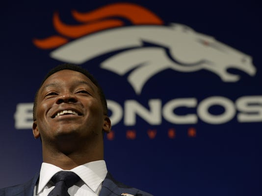 Denver Broncos wide receiver Demaryius Thomas talks Friday, July 17, 2015 at Dove Valley, about his $70 million contract he has signed with the team.