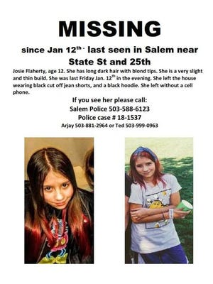 Josie Flaherty, 12, was last seen near 25th Street NE in Salem on Friday, Jan. 12, according to Salem Police.