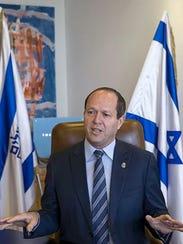 Jerusalem Mayor Nir Barkat speaks in Jerusalem on Feb.