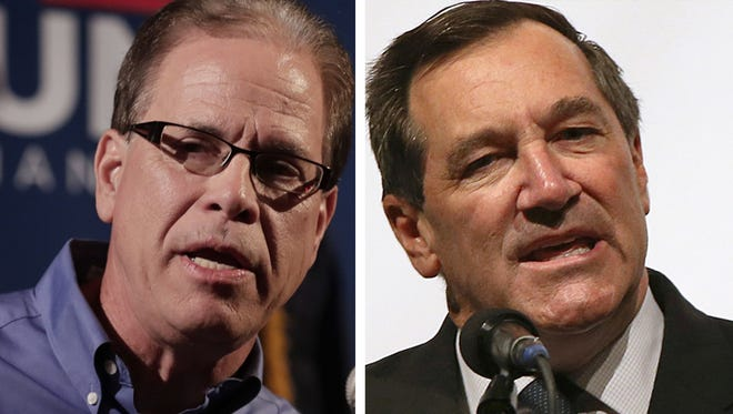U.S. Senate candidates Mike Braun (left) and Sen. Joe Donnelly.