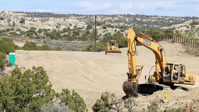 Construction continues on Wednesday on the southern phase of the East Aztec Arterial Route off U.S. Highway 550 just south of Aztec.