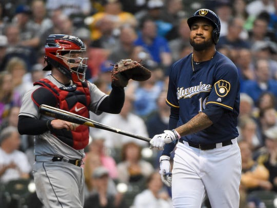 Domingo Santana has only three home runs and 17 RBI in 211 plate appearances this season, and his slugging percentage has dropped from .505 in 2017 to .354.
