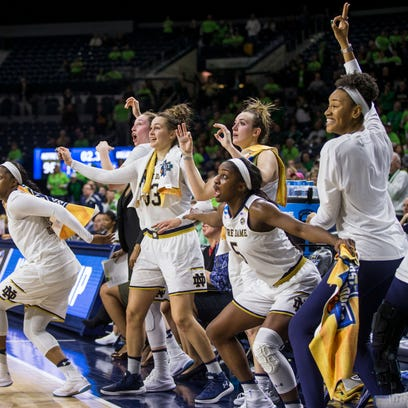 Notre Dame players celebrate a late-game basket during