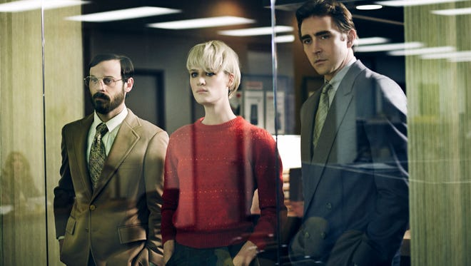 From left: Scoot McNairy, Mackenzie Davis and Lee Pace in AMC's new series 'Halt and Catch Fire.'