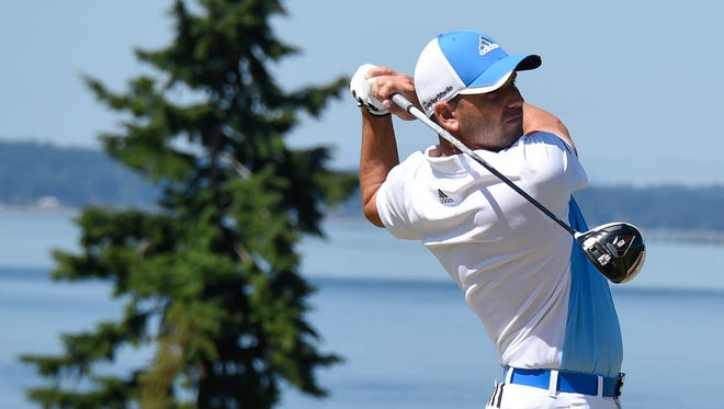 Sergio Garcia tees off on the 12th hole during practice rounds on Wednesday at Chambers Bay.