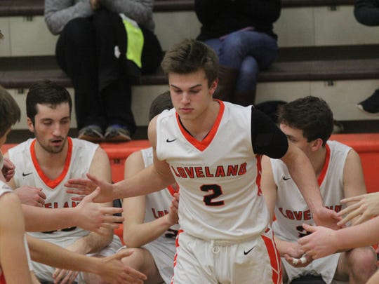 Loveland's Owen Wilhoite is introduced before the game.