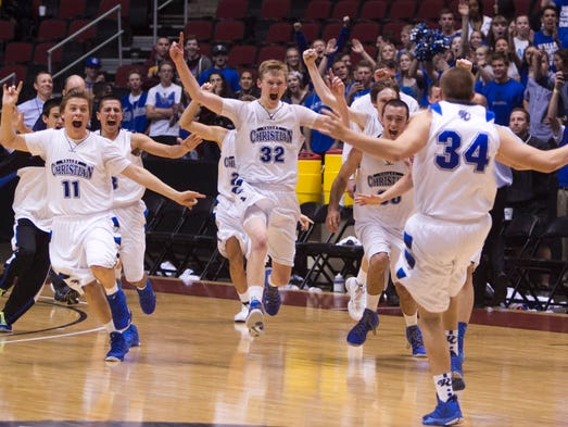 March 1 - Valley Christian celebrates after winning Division III Championship game over Cortez.