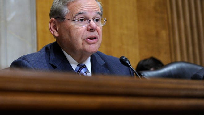 Senate Foreign Relations Committee Chairman Sen. Robert Menendez, D-N.J., questions State Department Undersecretary for Political Affairs Wendy Sherman on Capitol Hill in Washington, Tuesday, July 29, 2014.