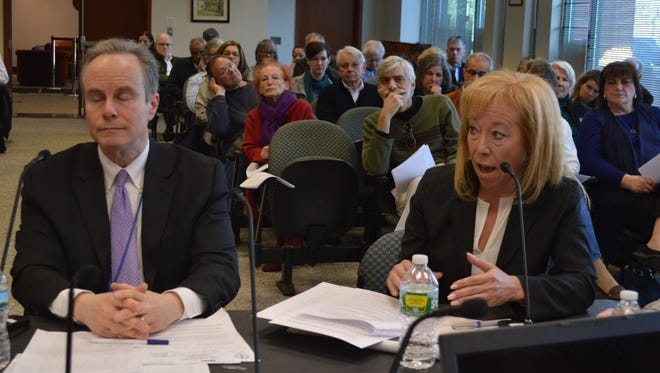 Greenburgh Assessor Edye McCarthy and John Wolham, of the state Department of Taxation and Finance, appeared before the Greenburgh Town Board on March 29.