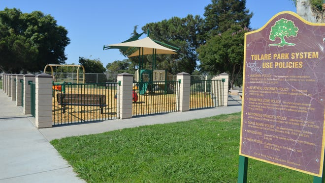 Improvements at Cesar Chavez Park include the installation of a toddlers' playpen.