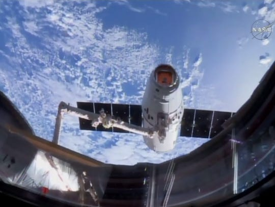 A refurbished SpaceX Dragon capsule completed its second