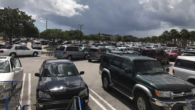 The parking lot was jammed Wednesday, Sept. 6, 2017, at Walmart on U.S. 1 in Port St. Lucie.