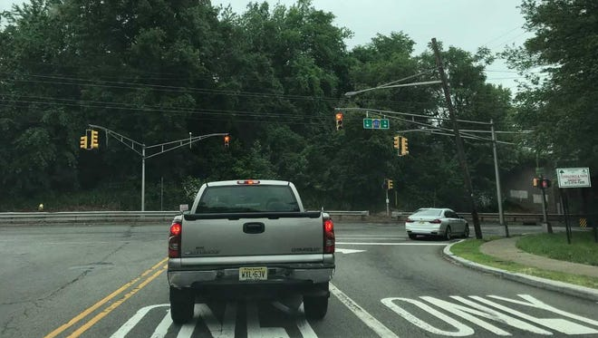 Clifton officials would like to see a new exit from the Knollcroft neighborhood come out and line up with this traffic light at the end of Route 3 exit ramp on Bloomfield Avenue.