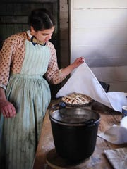 Traditional pie making at Frontier Culture Museum's