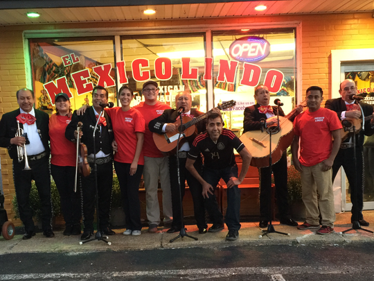 A mariachi band joined the staff of Mexico Lindo to celebrate the Brick restaurant's reopening Oct. 17, 2015.