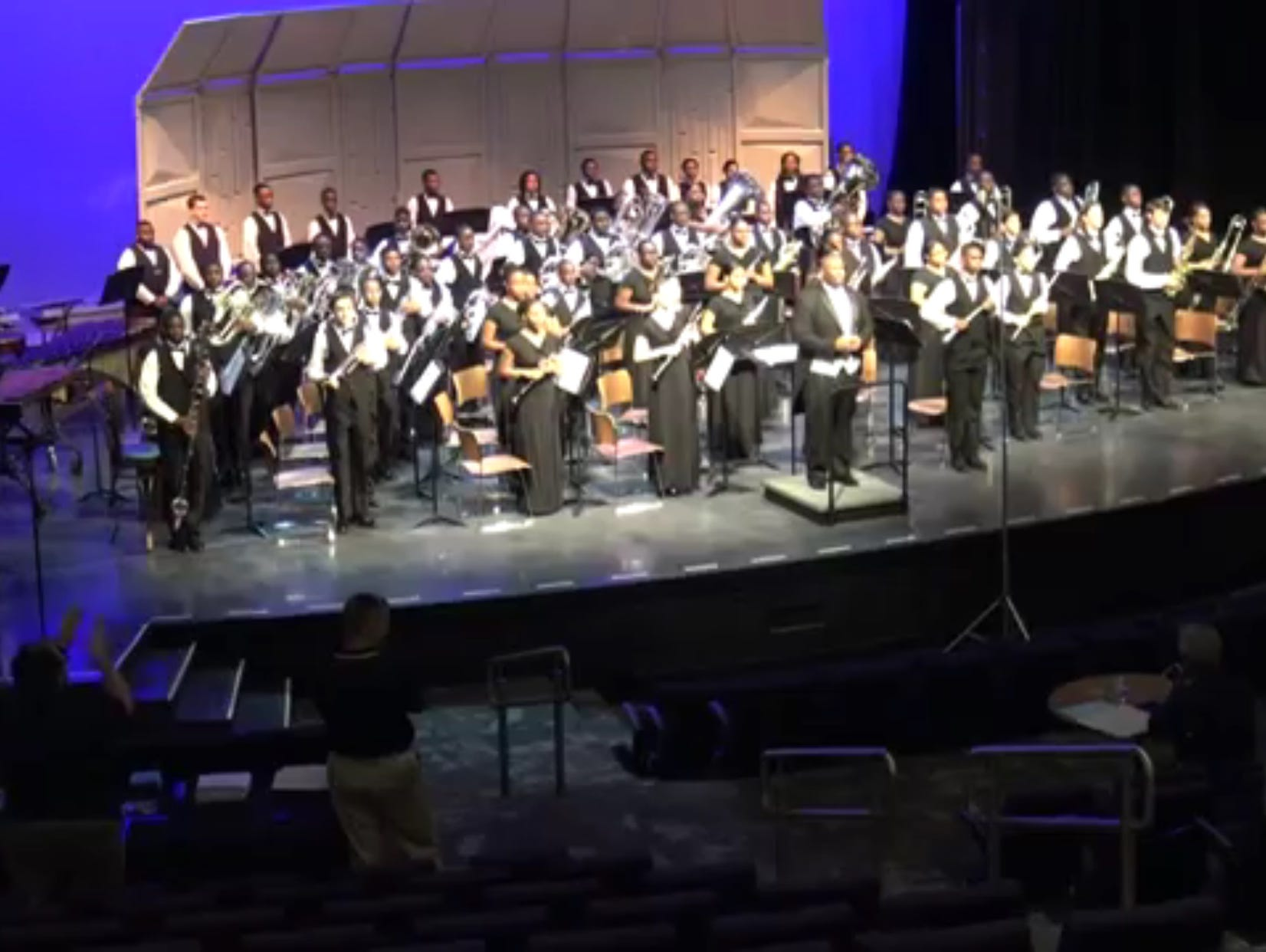The Southwood Symphonic Winds, conducted by band director Lennard Holden, performs in Atlanta, Georgia.