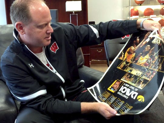 Living in Cobb meant that the team mostly likely on Greg Gard's television was the Iowa Hawkeyes, not the Badgers. Cobb is in Iowa County, after all, in the southwest part of Wisconsin. Greg still has a poster from 1983, when he was 12 years old.