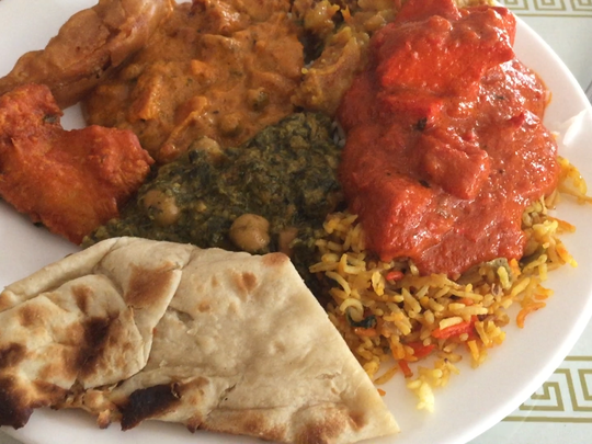 A plateful of food at Sitar Indian Restaurant on 21st Avenue North in Nashville.