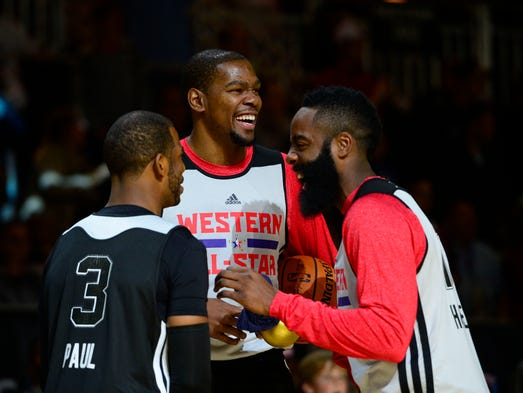 Kevin Durant, James Harden and Chris Paul will team