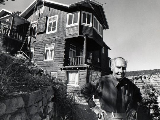 Emery C. Kolb, photographer of the Grand Canyon in front of his studio on April 14, 1974.