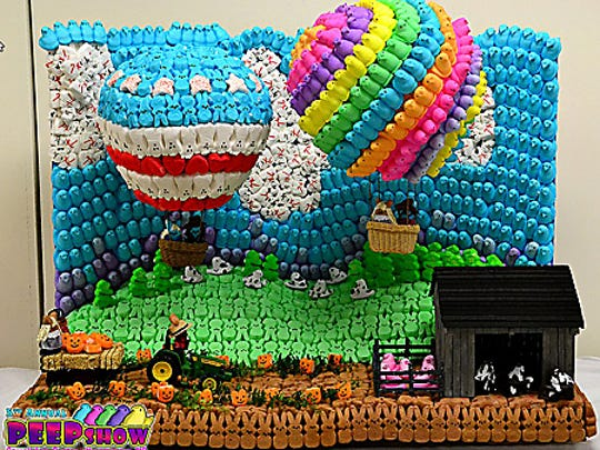 A hot air balloon diorama made from Peeps for a contest