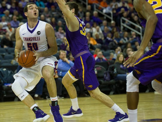 University of Evansville's Blake Simmons (50) pump