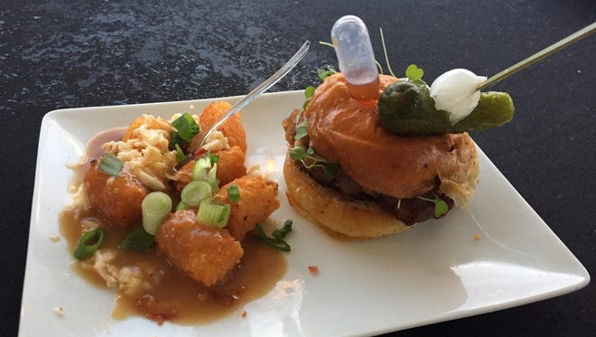 """Dorsey Culinary Academy got extra credit for the juicy au jus-infused """"Uncle Rico Touchdown Burger,"""" which came with a side of smoked Gouda poutine tots. They won the Best All-Around Burger title for the second year."""