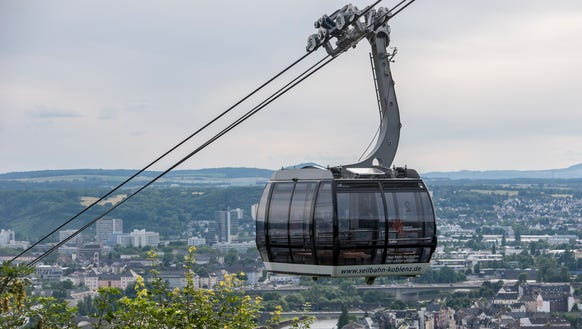 Cablecar to the fortress overlooking Koblenz.