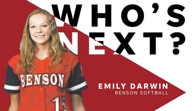 Freshman Emily Darwin led Benson to the 2A softball state title in 2018.