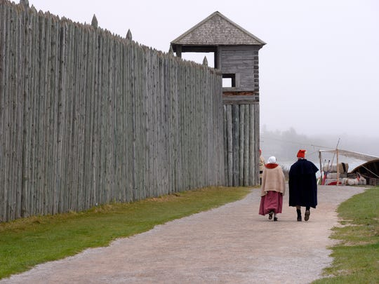The high walls of Colonial Michilimackinac on the south side of the Straits of Mackinac in Mackinaw City.