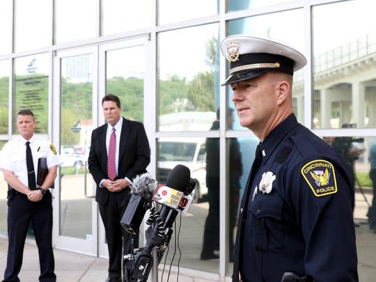 Lt. Bruce Hoffbauer, Cincinnati Police Department Traffic Unit Commander, spoke to the media on Monday.