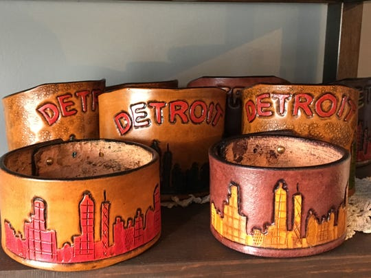 Detroit leather cuffs, $32-$35.