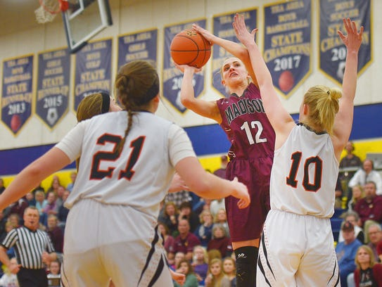 Madison's Jessi Giles goes against Lennox defense during