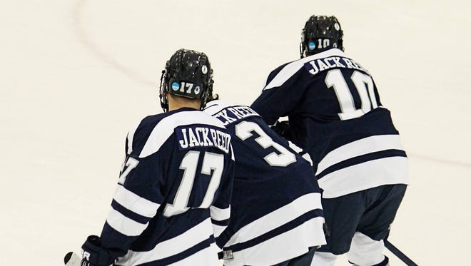 """The Ice Knights surprised the Reed family by wearing warmup jerseys with """"Jack Reed"""" on the back at their Jan. 24 charity hockey game."""
