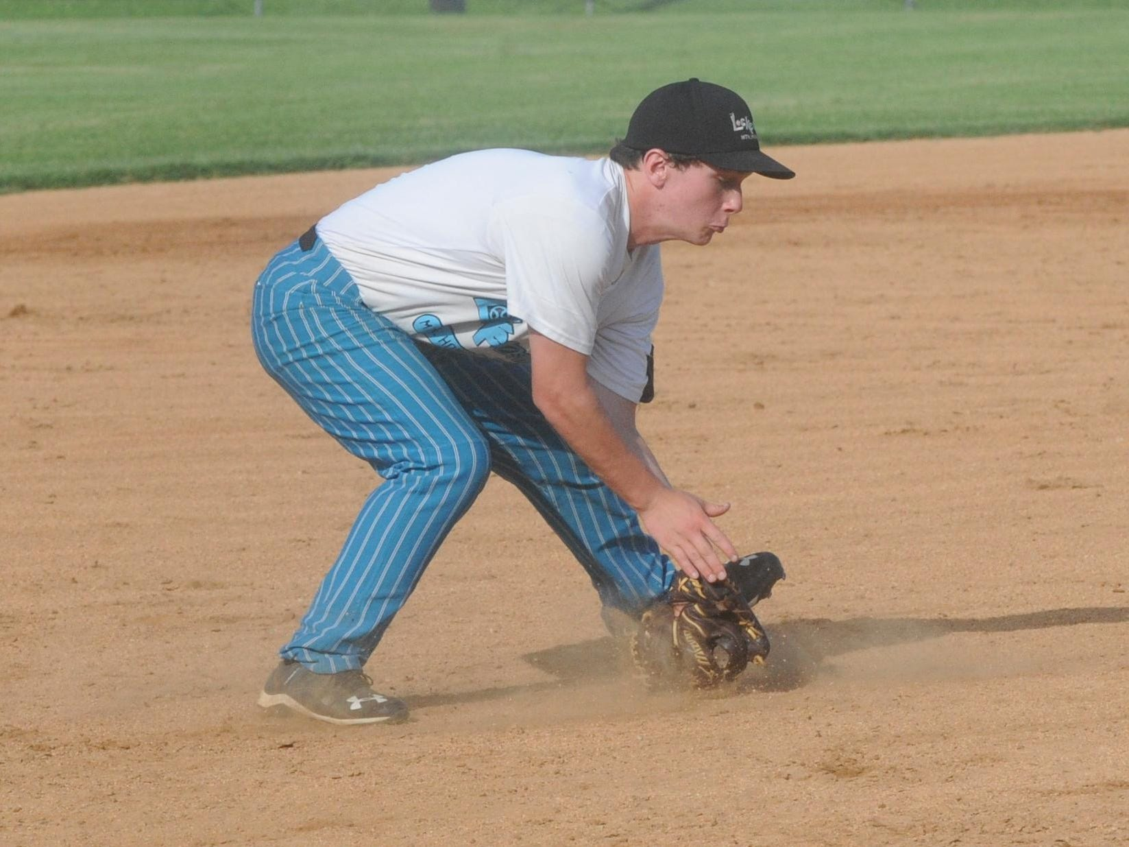 Lockeroom's Quinn Ellison fields a ground ball at third base during a recent game at Cooper Park.
