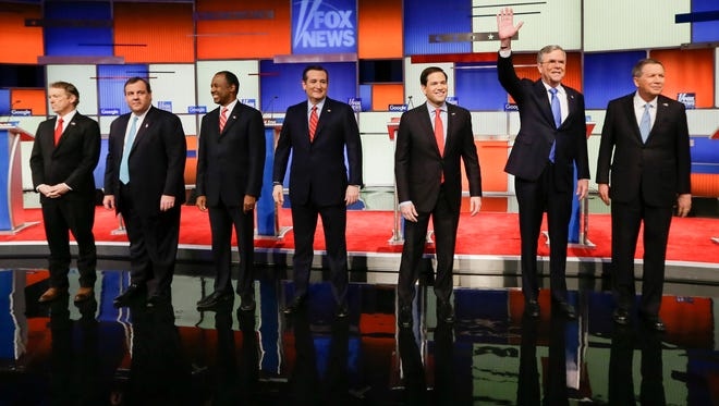 Republican presidential candidates take the stage for the primary debate on Jan. 28, 2016, in Des Moines.