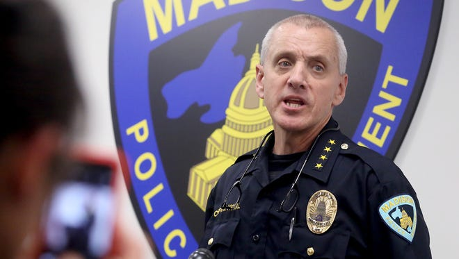 Madison Police Chief Mike Koval meets reporters on Wednesday, June 3, 2015, to discuss the department's exoneration of officer Matt Kenny in the shooting death of 19-year-old Tony Robinson last March.