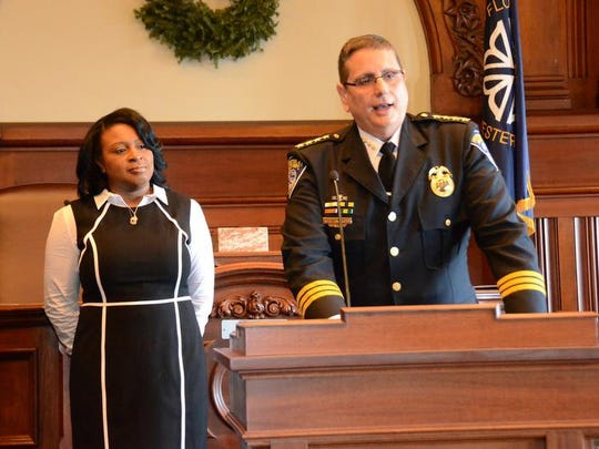 Interim Rochester Police Chief Michael Ciminelli was joined by Mayor Lovely Warren at City Hall on Jan. 1.