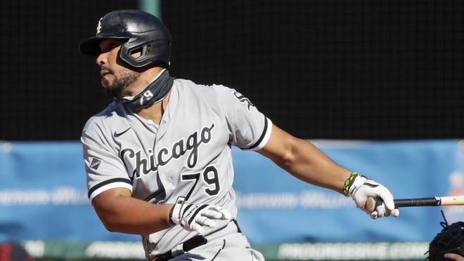 Chicago White Sox's Jose Abreu grounds out in the fifth inning in the first baseball game of a doubleheader Tuesday in Cleveland.