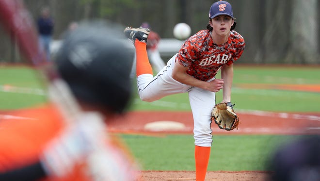 Briarcliff's Jack Ryan pitching against Croton during boys baseball action at Briarcliff High School April 26, 2017. Briar cliff won the game 10-1.