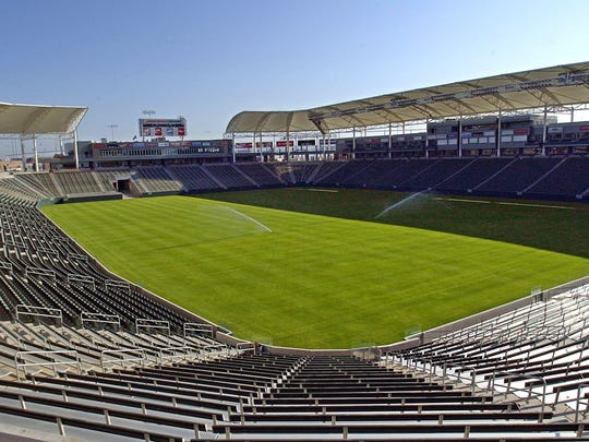 FILE - This May, 2003 file photo shows what was then known as Home Depot Center, renamed in June of that year to StubHub Center, In Carson, Calif. Currently home to the MLS Los Angeles Galaxy soccer team, StubHub Center will become the temporary home of the Los Angeles Chargers NFL football team when it moves to Los Angeles in the fall of 2017.