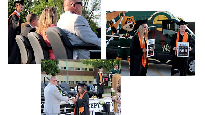 Clockwise from left: Isaac Huiras addressed the crowd (in their cars) on stage with Principal Shane Laffen, Board Chair Darla Remus, and Superintendent John Cselovszki; Emma and Evan Fischer posed with Nordy; Brynja Mielke received her diploma as Colten Myers was introduced on stage.