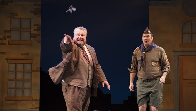 """Ron May (left) and Joseph Kremer in Phoenix Theatre's """"One Man, Two Guvnors."""""""