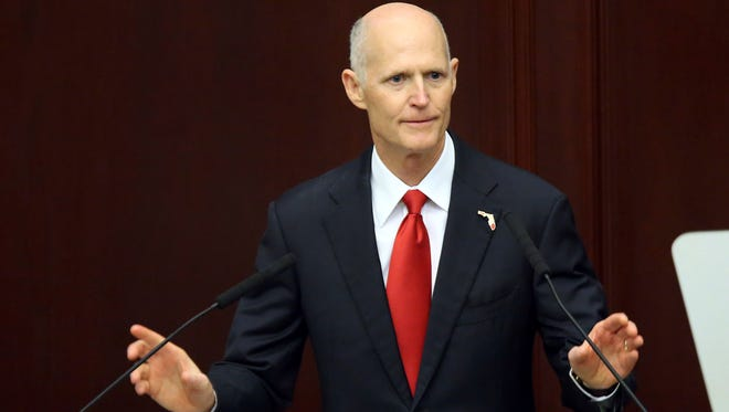 Gov. Rick Scott makes the state of the state address to the joint session of the Legislature on March 7, 2017, in Tallahassee.