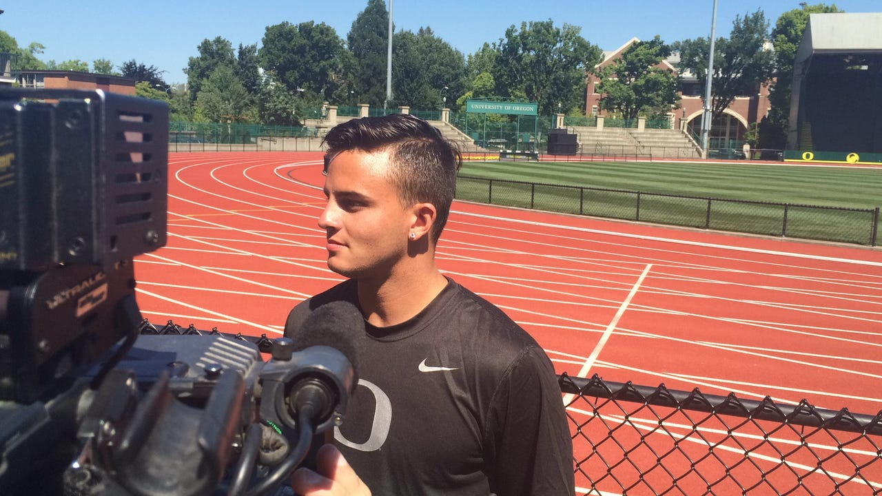 Oregon's Devon Allen says he's going for the gold medal at the Olympics.