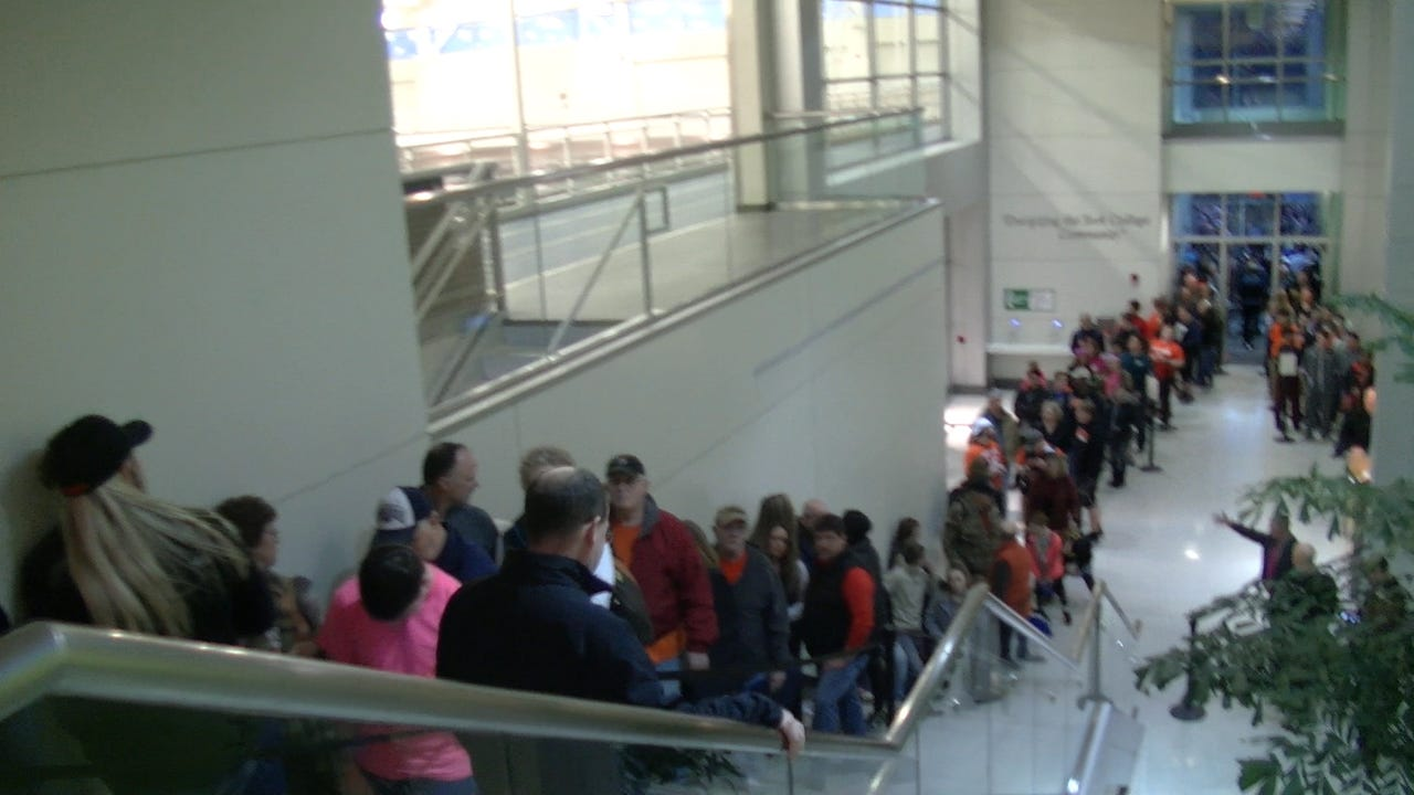 Fans lined up outside York College's Wolf Gymnasium and out the door of the Grumbacher Sport and Fitness Center for the YAIAA boys' basketball championship game Friday, Feb. 17, 2017.