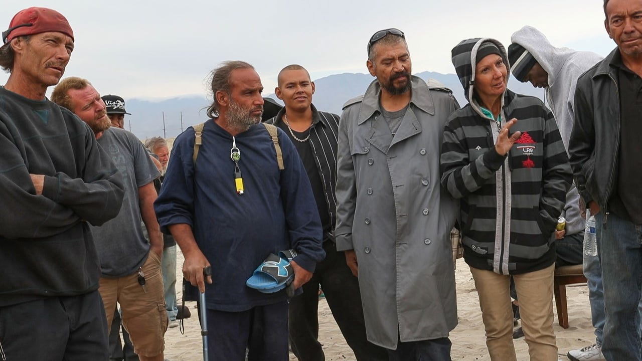 A group of homeless at a camp are being forced to leave the property which belongs to Caltrans.