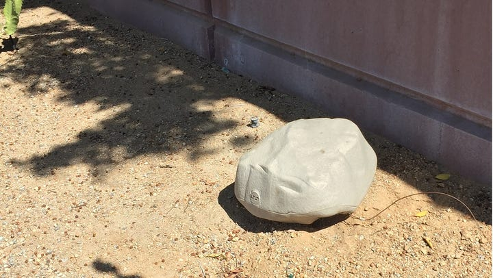 This rodent bait trap looks like a natural rock.
