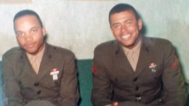 Just out of basic training, new marines Lin Williams, left, and Bo Obie came home for Christmas in 1966.