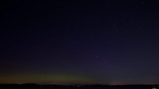 My eyes couldn't see the aurora, but my camera could.